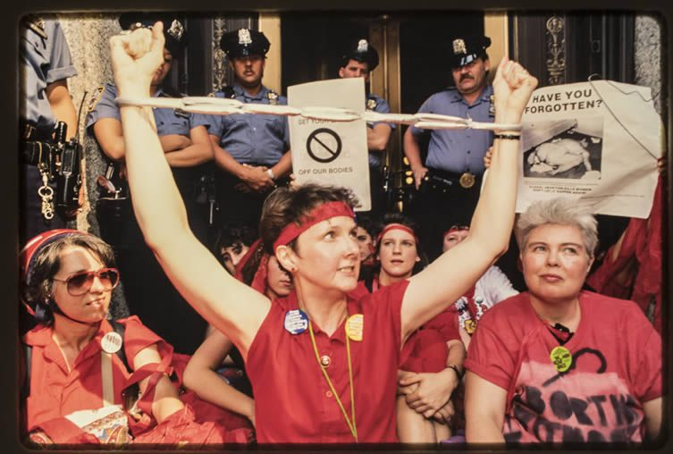 Pro-choice demonstrators in downtown Manhattan protest the July 3rd, 1989